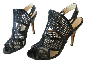 Isola Patent Leather Mesh Peep Toe Black Pumps