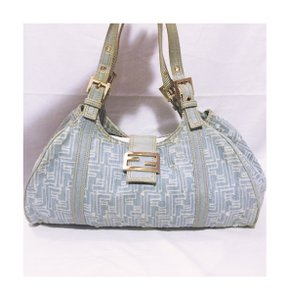 Fendi Vintage Denim Leather Hobo Bag