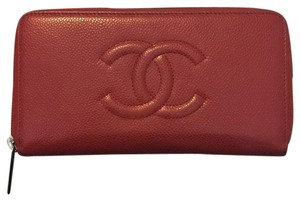 Chanel Chanel CC large red zip wallet