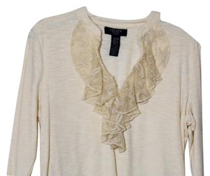 Chaps Knit Lace Ruffled Medium Top Winter Cream