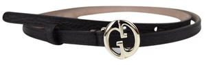 Gucci GUCCI Leather Skinny Belt w/Interlocking G Buckle 90/36 362731 2044
