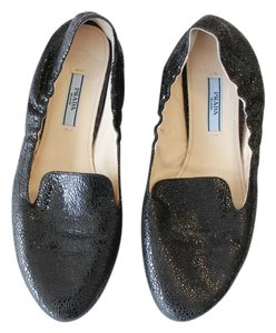 Prada Smoking Slippers Leather Black Crackled Flats