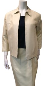 Prada cotton and silk blend zippered jacket and skirt suit