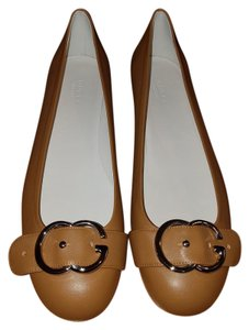 Gucci Leather Sachalin Tan Flats