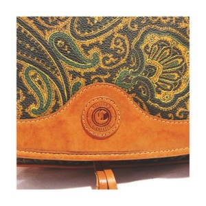 Castello Vintage Paisley Leather Italian Cross Body Bag