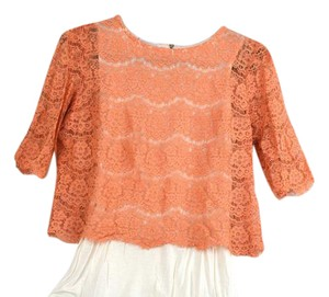 Promod Lace Lace Trim Crop French Top Coral