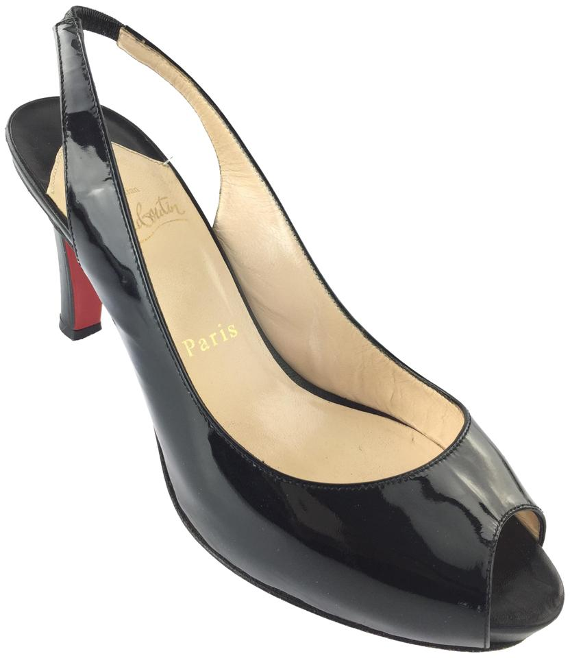 new concept 6e676 fbec9 Christian Louboutin Black Patent Leather Slingback Pumps Size EU 37  (Approx. US 7) Regular (M, B)