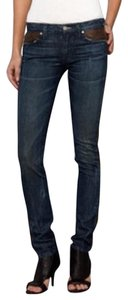 Vince Camuto Leather Skinny Jeans-Medium Wash