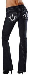 True Religion Joey White Sequins Flare Leg Jeans-Dark Rinse