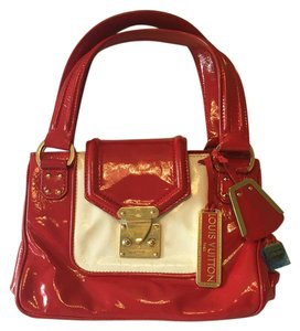 Louis Vuitton Limited Edition 2 Charms Enamel Calf Leather Rare Tote in Red and White