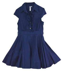 RWish short dress Navy Vintage Retro Blue Ruffles on Tradesy