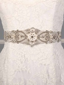 Justina McCaffrey Diamond White Embellished Bridal Sash Belt