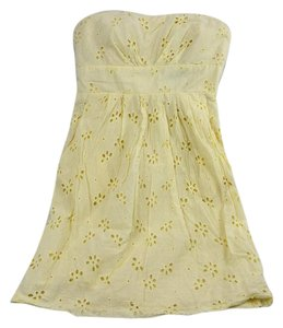Alyn Paige short dress Pale Yellow Strapless Sundress Eyelet Mini on Tradesy