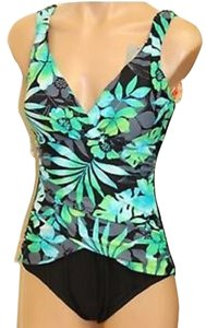 Tropical Honey EZ8285006 Tropical Honey One piece Slimming / Bust Enhancing swim suit sz 12. Green Floral. multi