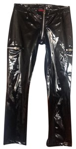 Dogpile Skinny Faux Leather vinyl zippered pants Skinny Pants Black