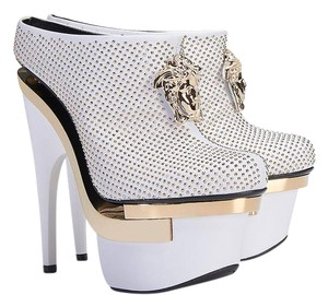 Versace Leather Platform Studded White Boots