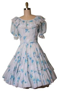 Other short dress Blue, White Vintage Floral Peasant Country on Tradesy