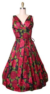 Vintage 50's Vintage Roses Red Silk Dress