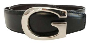 Gucci Authentic GUCCI Silver G Waist Belt Black Leather