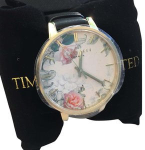 Ted Baker Ted Baker Floral Dial Black Leather Strap Watch Style# 10026426