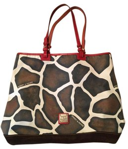 Dooney & Bourke Giraffe Leather Red Tote in Brown/red