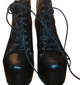 Jeffrey Campbell black leather with dark wooden heel Boots