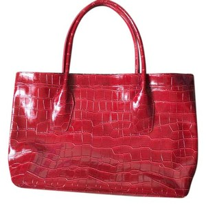 Elizabeth Arden Large Patent Leopard Tote in Red