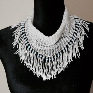 Bridal White Seed Bead Scarf Necklace