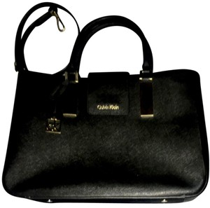 Calvin Klein Leather Tote in Black