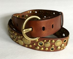 NEW Collectable Coach Leather and Brass Belt Heavy SPECIAL EDITION Coach Leather and Brass Decorated