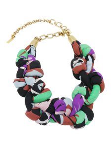 Etro Etro Gold Tone with Multi-Color Braided Silk Statement Necklace
