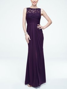 David's Bridal Plum Sleeveless Long Mesh Dress With Corded Lace Stlye # F15749 Dress