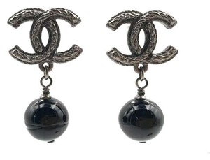 Chanel Chanel Ruthenium CC Black Stone Dangle Piercing Earrings