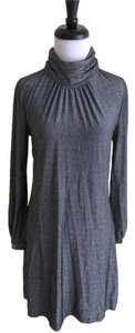 Three Dots short dress Silver and Black Metallic Turtleneck Longsleeve on Tradesy