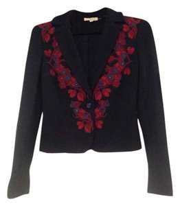 Tory Burch Navy blue with red and maroon flowers and navy sequins Blazer