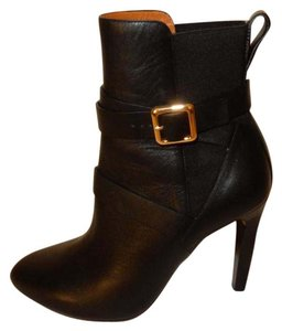 Chloé Strappy Stacked Heel Pull Leather Lining Leather Sole Black Boots