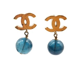 Chanel Chanel Gold CC Midnight Blue Stone Bead Dangle Piercing Earrings
