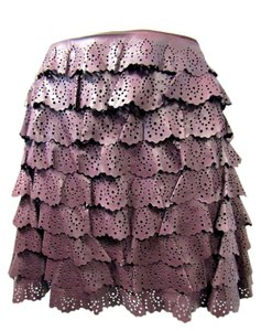 Dior Christian Lamb Leather Mini Ruffled Mini Skirt Burgundy