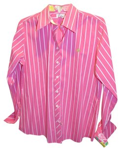 Lilly Pulitzer Palm Beach Button Down Preppy Top PINK WHITE STRIPE