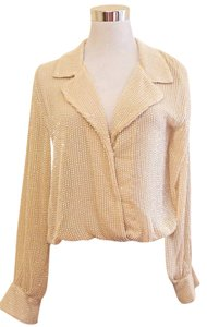 Rory Beca Beaded Longsleeve Sheer Embellished Top Cream