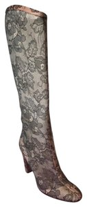 Valentino Lace Knee High Black Boots