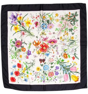 Gucci Flora Print Silk Scarf With Solid Border