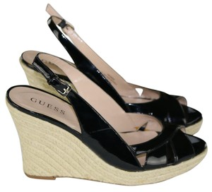 Guess Espadrille Sandals Black Wedges