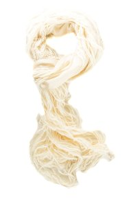Gucci Ivory Silk and Wool Fringed Scarf