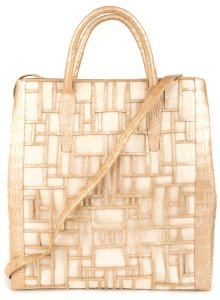 Nancy Gonzalez Tote in Tan & Gold