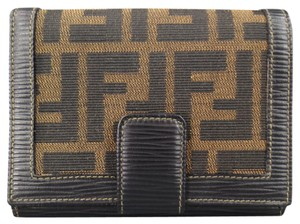 Fendi Brown & Black Monogram Canvas & Epi Leather Snap Wallet