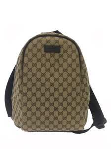 Gucci Beige canvas and brown leather Travel Bag