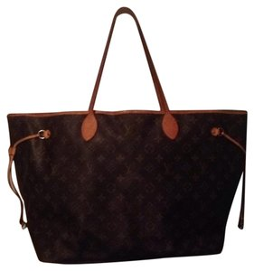 Louis Vuitton Neverfull Monogram Gm Mm Tote in Brown