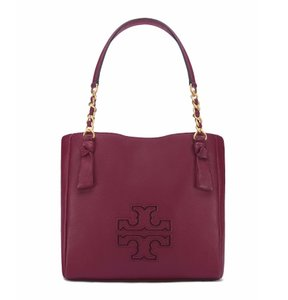 Tory Burch Leather Satchel in Dark Merlot