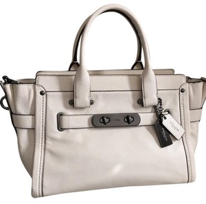 Coach Swagger Strap Detachable Gunmetal Hardware Soft Leather New Satchel in Chalk